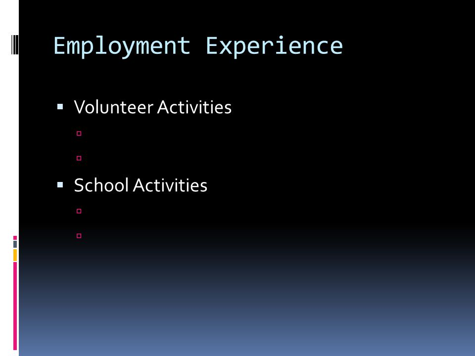 Employment Experience  Volunteer Activities   School Activities 