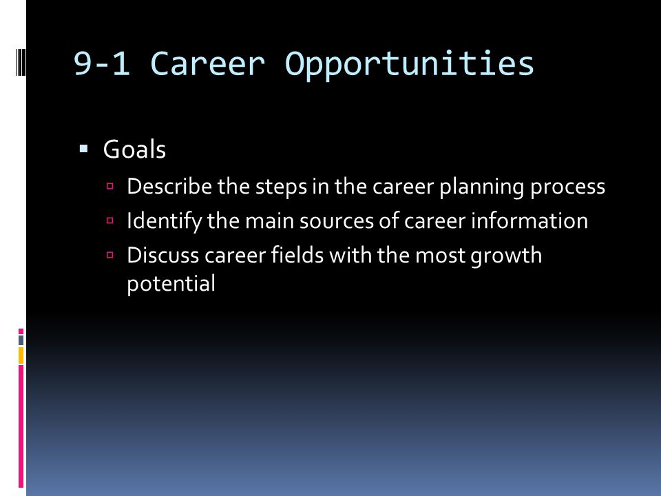 The Career Planning Process  Step 1: Personal Assessment   Step 2: Employment Market Analysis   Step 3: Application Process 