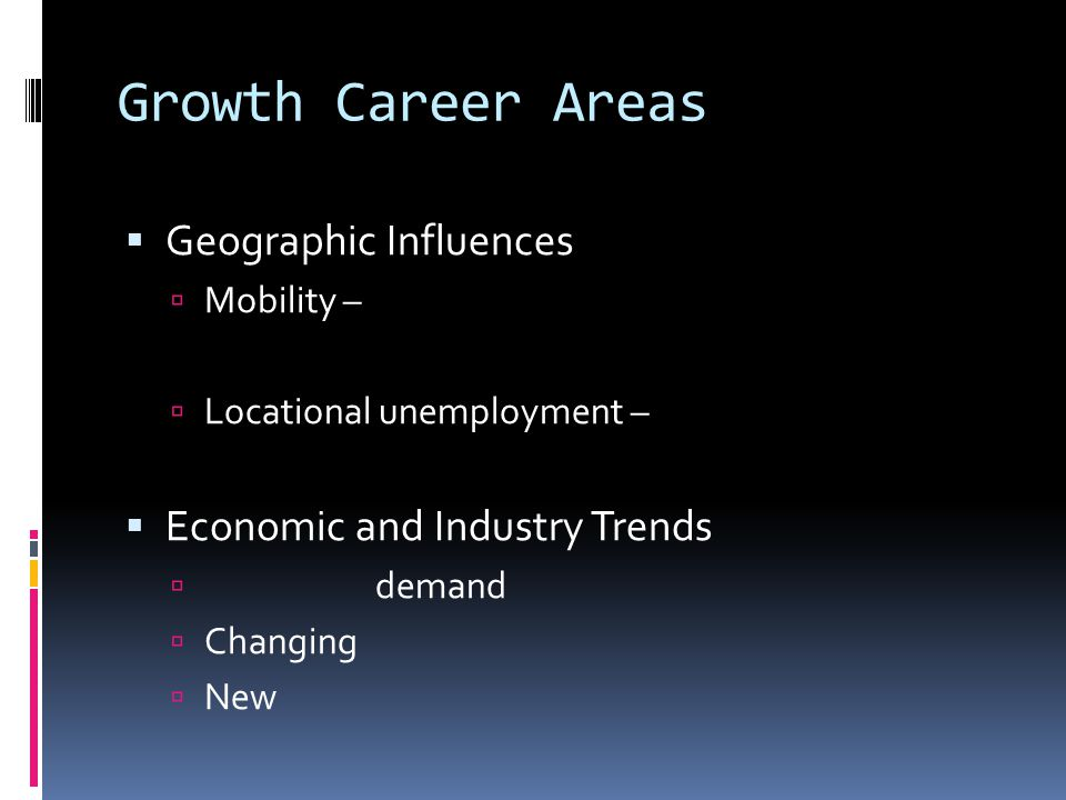 Growth Career Areas  Geographic Influences  Mobility –  Locational unemployment –  Economic and Industry Trends  demand  Changing  New