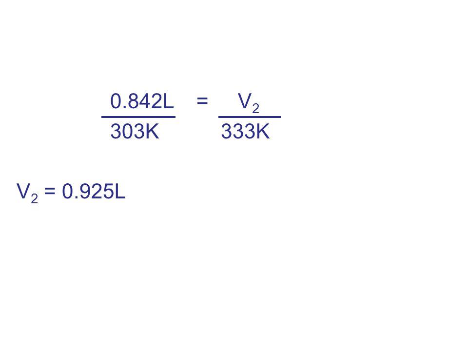 0.842L = V 2 303K 333K V 2 = 0.925L