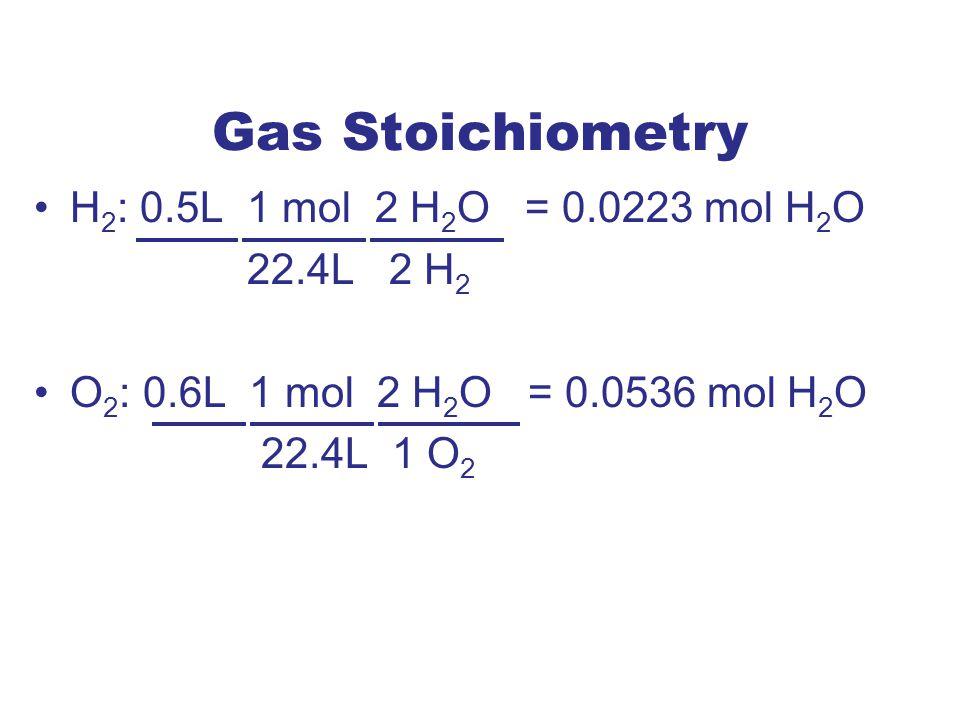 Gas Stoichiometry H 2 : 0.5L 1 mol 2 H 2 O = 0.0223 mol H 2 O 22.4L 2 H 2 O 2 : 0.6L 1 mol 2 H 2 O = 0.0536 mol H 2 O 22.4L 1 O 2