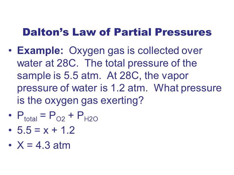 Dalton's Law of Partial Pressures Example: Oxygen gas is collected over water at 28C.