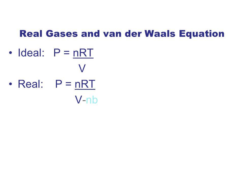 Real Gases and van der Waals Equation Ideal: P = nRT V Real: P = nRT V-nb