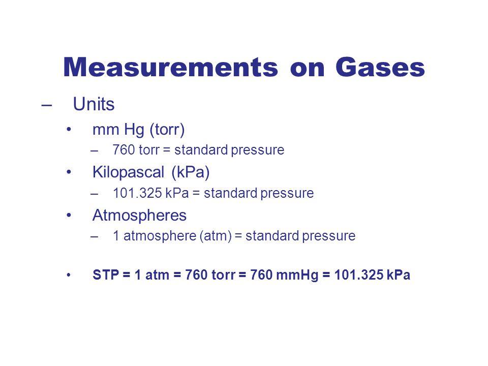 –Units mm Hg (torr) –760 torr = standard pressure Kilopascal (kPa) –101.325 kPa = standard pressure Atmospheres –1 atmosphere (atm) = standard pressur