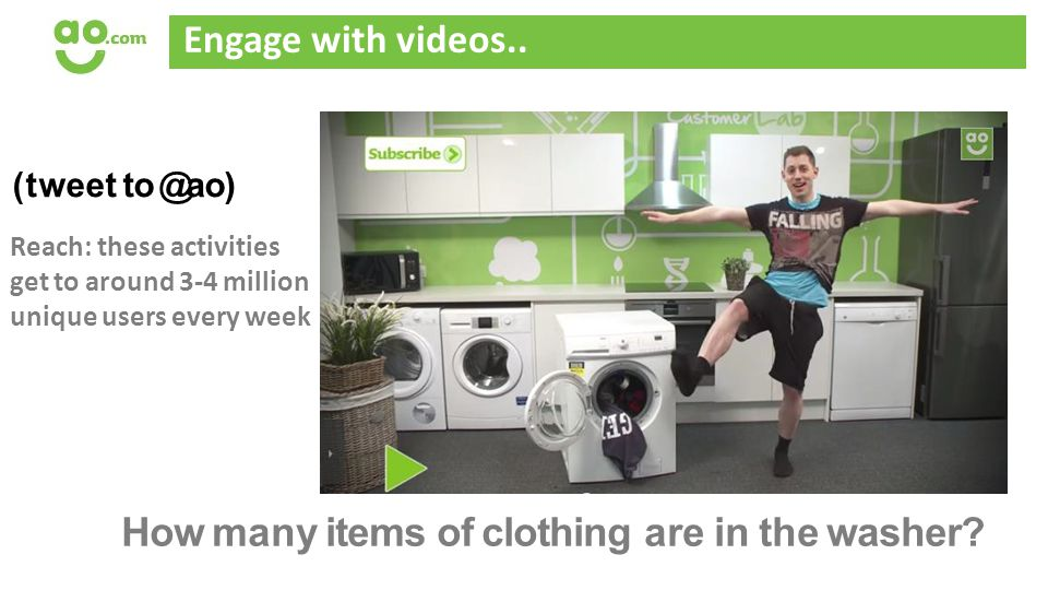 Engage with videos.. How many items of clothing are in the washer.