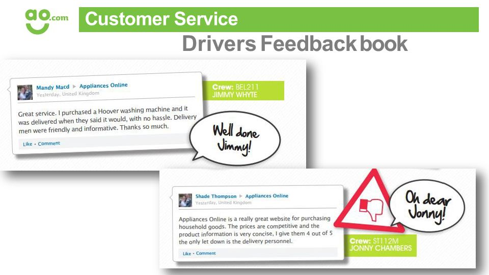 Basically, pretty boring stuff.. Customer Service Drivers Feedback book