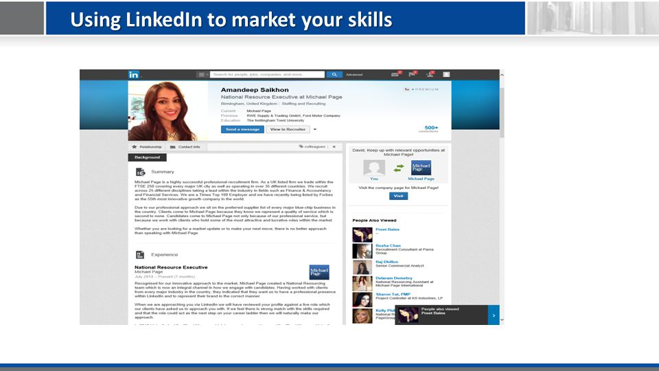 Using LinkedIn to market your skills