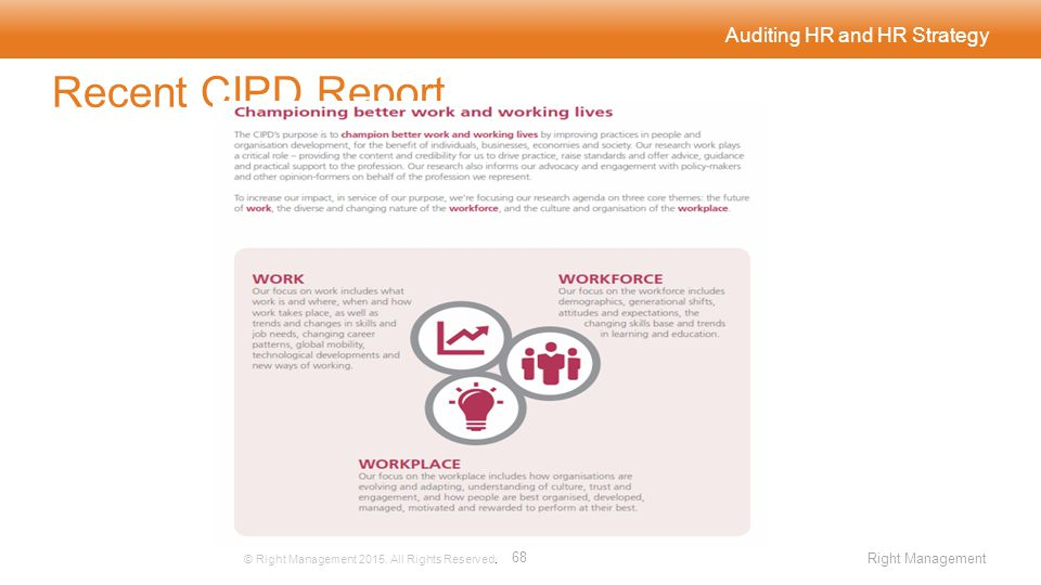 Auditing HR and HR Strategy Recent CIPD Report © Right Management 2015.