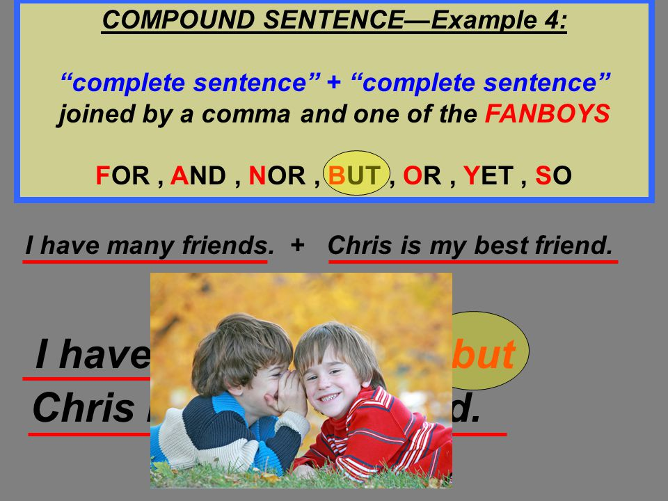 """COMPOUND SENTENCE—Example 3: """"complete sentence"""" + """"complete sentence"""" joined by a comma and one of the FANBOYS FOR, AND, NOR, BUT, OR, YET, SO I don'"""