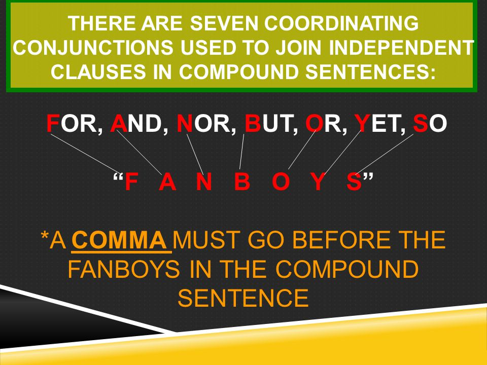 """A compound sentence contains 2 independent clauses (""""complete sentences"""") joined by a comma and a coordinating conjunction."""