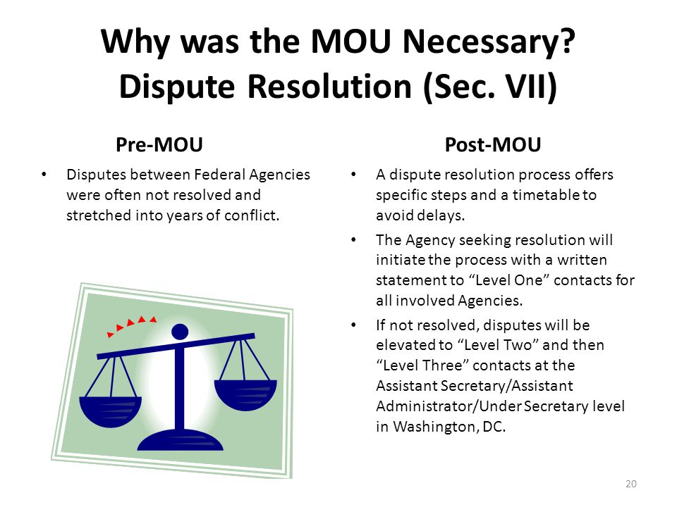 Why was the MOU Necessary. Dispute Resolution (Sec.