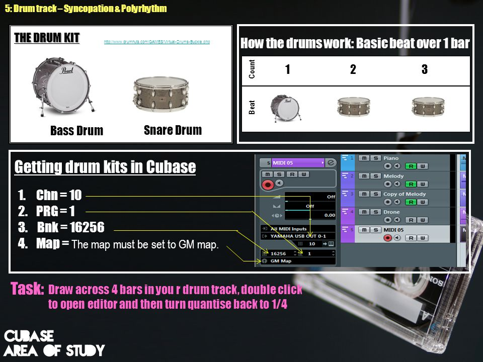 How the drums work: Basic beat over 1 bar 1 2 3 Count Beat Snare Drum Bass Drum THE DRUM KIT http://www.drumnuts.com/GAMES/Virtual-Drums-Buckle.php 5: Drum track – Syncopation & Polyrhythm 1.Chn = 10 2.PRG = 1 3.
