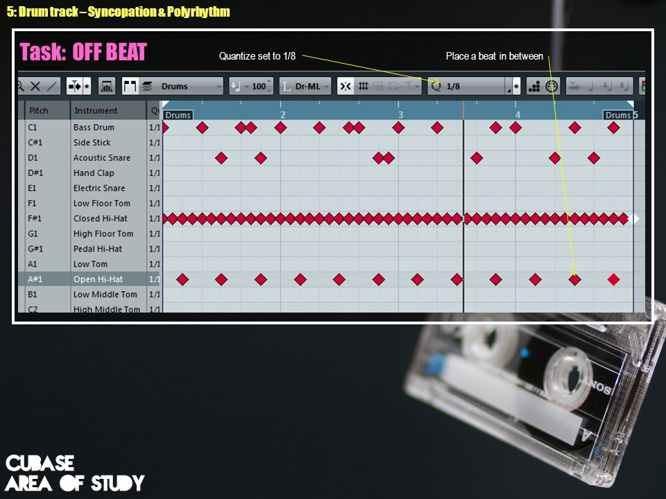 2.Attempt composing your own drum beat. Ensure your quantise in 1/4.