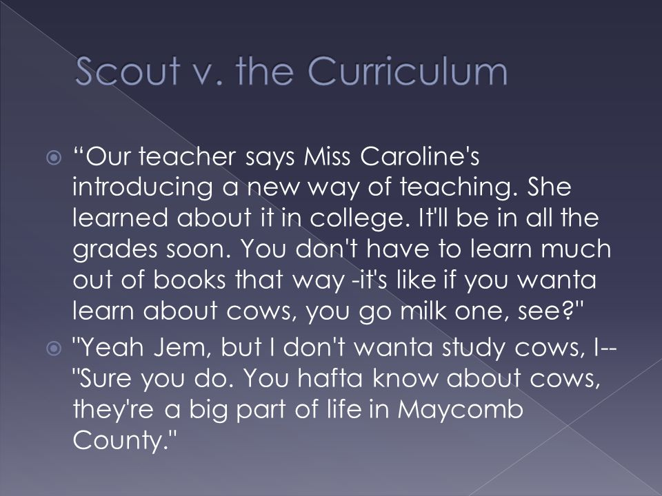 " ""Our teacher says Miss Caroline's introducing a new way of teaching. She learned about it in college. It'll be in all the grades soon. You don't hav"