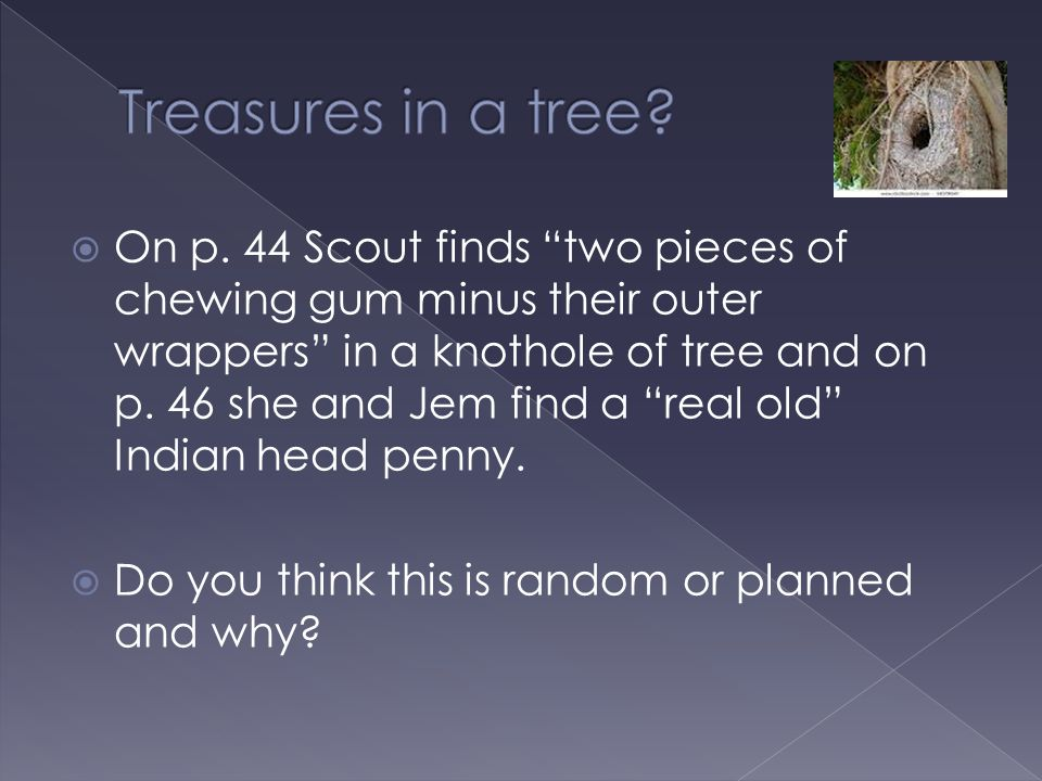 " On p. 44 Scout finds ""two pieces of chewing gum minus their outer wrappers"" in a knothole of tree and on p. 46 she and Jem find a ""real old"" Indian"