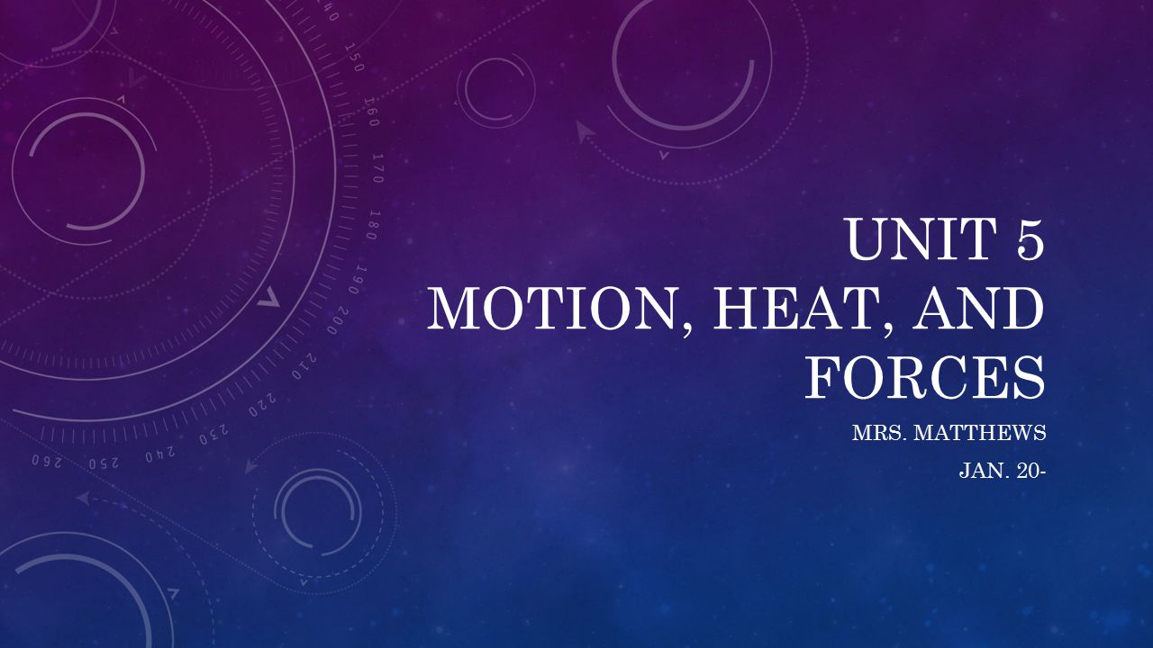 UNIT 5 MOTION, HEAT, AND FORCES MRS. MATTHEWS JAN. 20-
