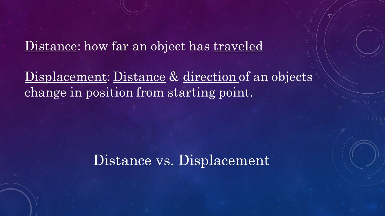 Distance: how far an object has traveled Displacement: Distance & direction of an objects change in position from starting point. Distance vs. Displac