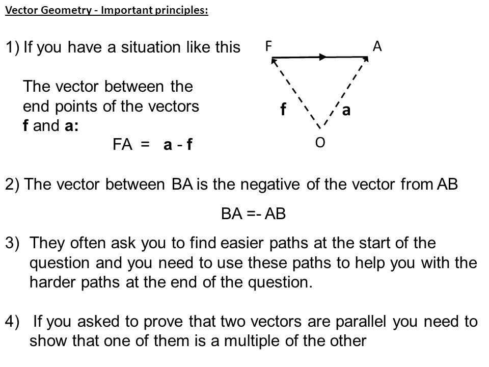 Vector Geometry - Important principles: 1)If you have a situation like this The vector between the end points of the vectors f and a: FA = a - f 2) Th