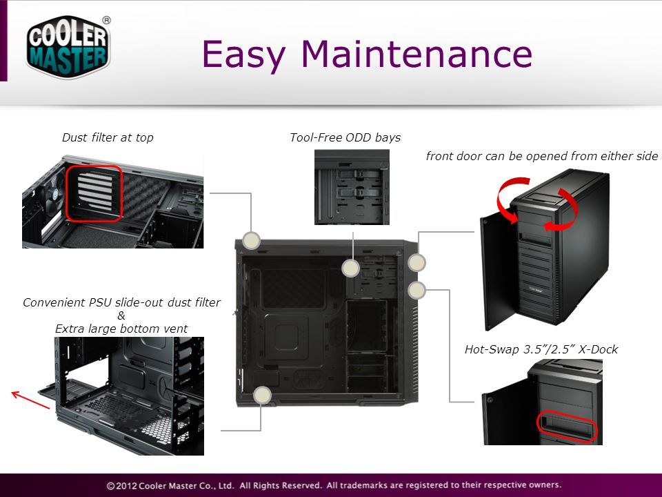 """Easy Maintenance Dust filter at top front door can be opened from either side Hot-Swap 3.5""""/2.5"""" X-Dock Convenient PSU slide-out dust filter & Extra l"""