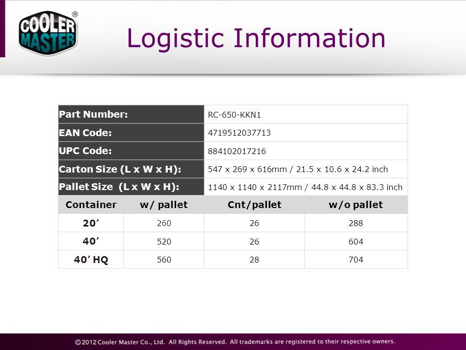 Logistic Information Part Number: RC-650-KKN1 EAN Code: 4719512037713 UPC Code: 884102017216 Carton Size (L x W x H): 547 x 269 x 616mm / 21.5 x 10.6