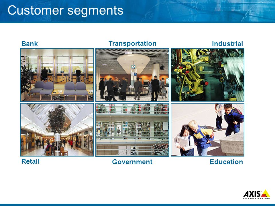 Customer segments Retail Bank Transportation Government Education Industrial