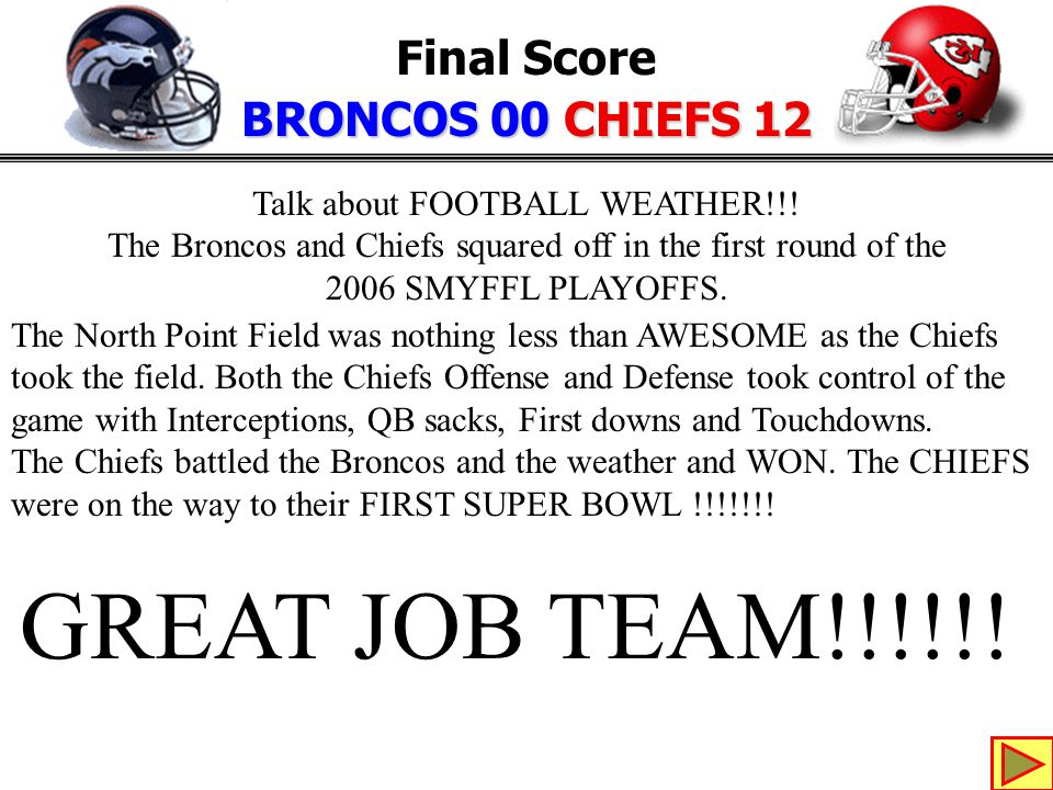 Final Score BRONCOS 00 CHIEFS 12 Talk about FOOTBALL WEATHER!!.