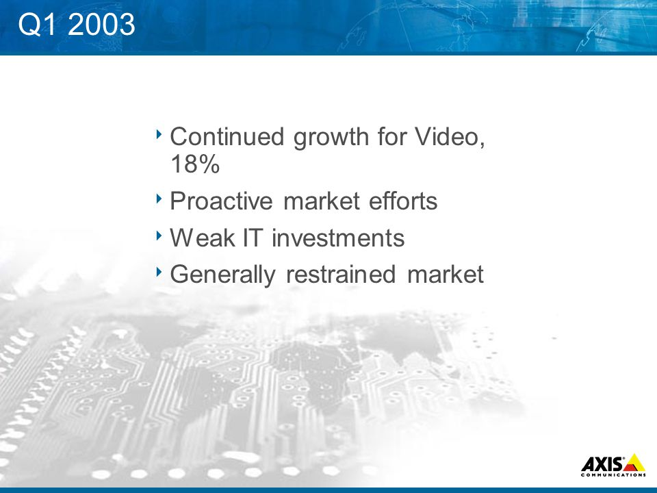 Q1 2003  Continued growth for Video, 18%  Proactive market efforts  Weak IT investments  Generally restrained market