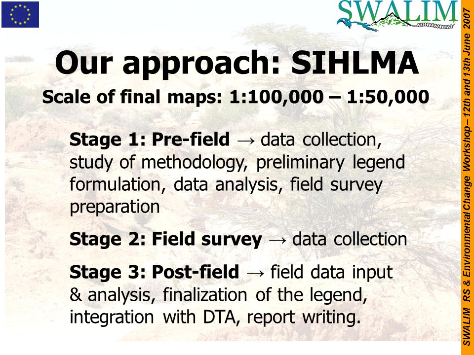 SWALIM RS & Environmental Change Workshop – 12th and 13th June 2007 Our approach: SIHLMA Stage 1: Pre-field → data collection, study of methodology, p