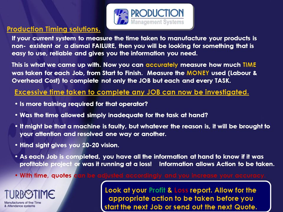 So what is Production Timing.
