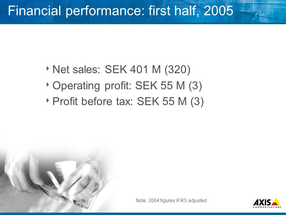 Financial performance: first half, 2005  Net sales: SEK 401 M (320)  Operating profit: SEK 55 M (3)  Profit before tax: SEK 55 M (3) Note: 2004 figures IFRS adjusted