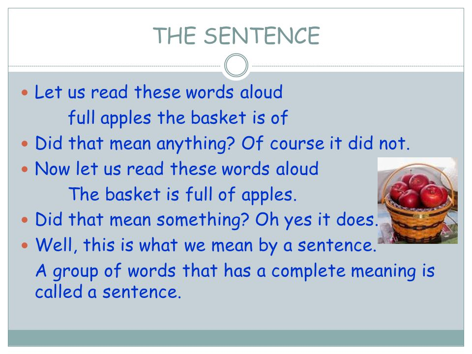 Let us read these words aloud full apples the basket is of Did that mean anything? Of course it did not. Now let us read these words aloud The basket