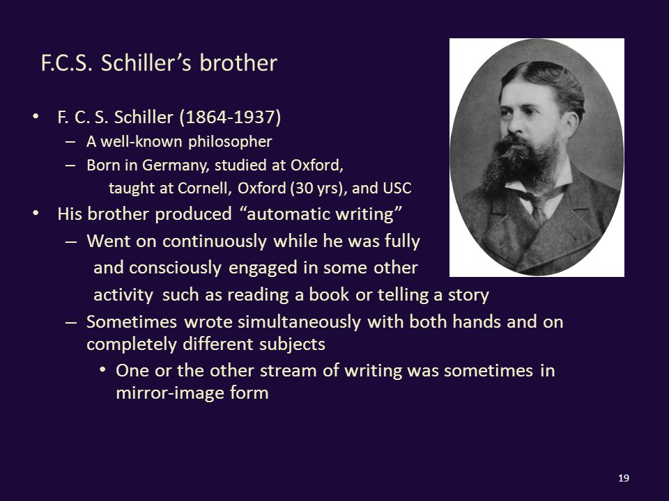 F.C.S. Schiller's brother F. C. S. Schiller (1864-1937) – A well-known philosopher – Born in Germany, studied at Oxford, taught at Cornell, Oxford (30