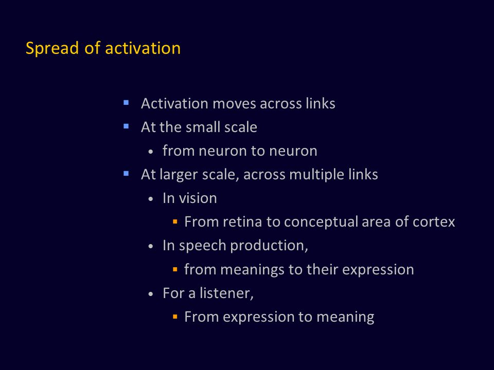 Spread of activation  Activation moves across links  At the small scale from neuron to neuron  At larger scale, across multiple links In vision  F