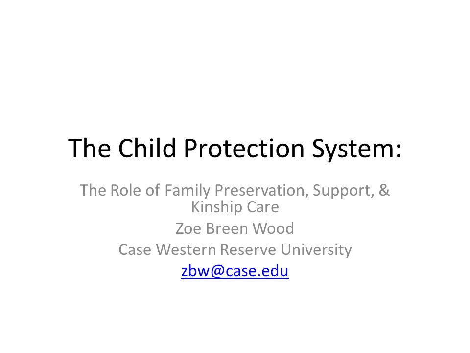 The Child Protection System: The Role of Family Preservation, Support, & Kinship Care Zoe Breen Wood Case Western Reserve University zbw@case.edu