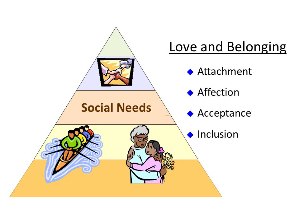 Social Needs  Attachment  Affection  Acceptance  Inclusion Love and Belonging