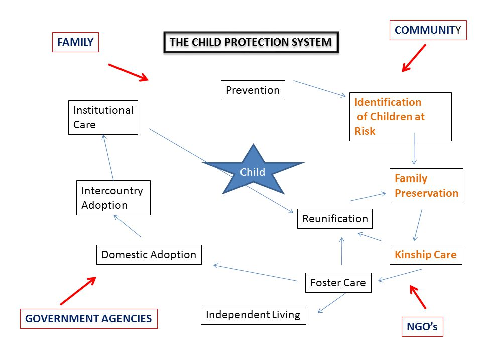 Child Prevention Identification of Children at Risk Family Preservation Kinship Care Foster Care Reunification Independent Living Domestic Adoption Intercountry Adoption Institutional Care FAMILY COMMUNITY GOVERNMENT AGENCIES NGO's THE CHILD PROTECTION SYSTEM