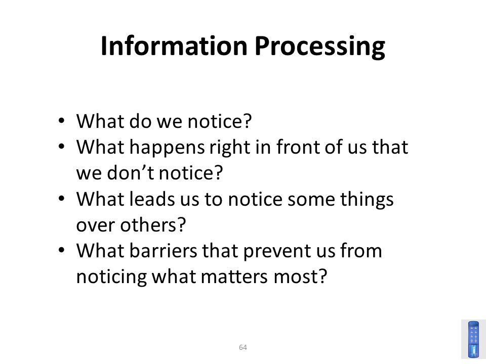 64 Information Processing What do we notice.