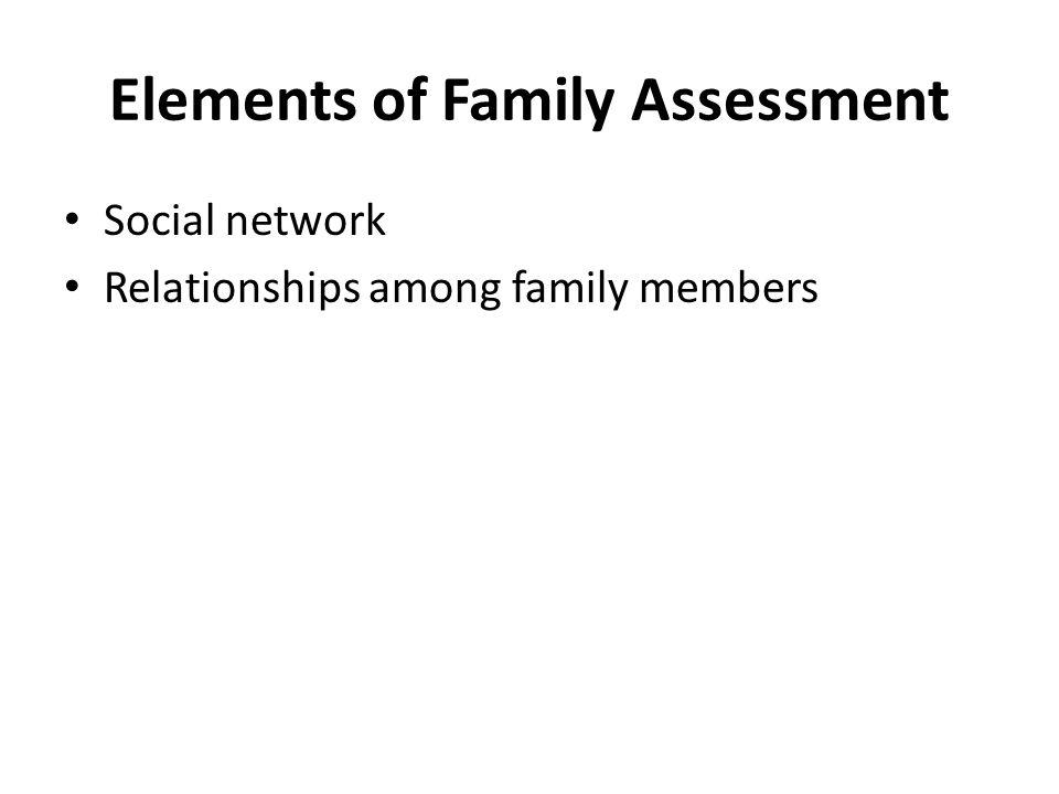 Elements of Family Assessment Social network Relationships among family members