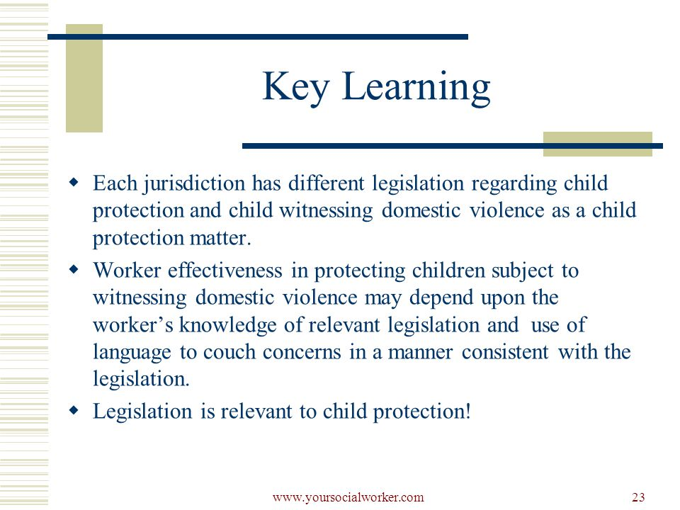 www.yoursocialworker.com23 Key Learning  Each jurisdiction has different legislation regarding child protection and child witnessing domestic violence as a child protection matter.