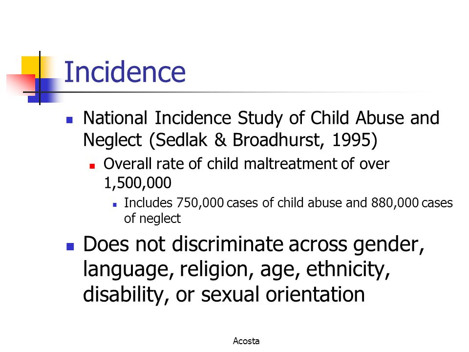 Incidence National Incidence Study of Child Abuse and Neglect (Sedlak & Broadhurst, 1995) Overall rate of child maltreatment of over 1,500,000 Include