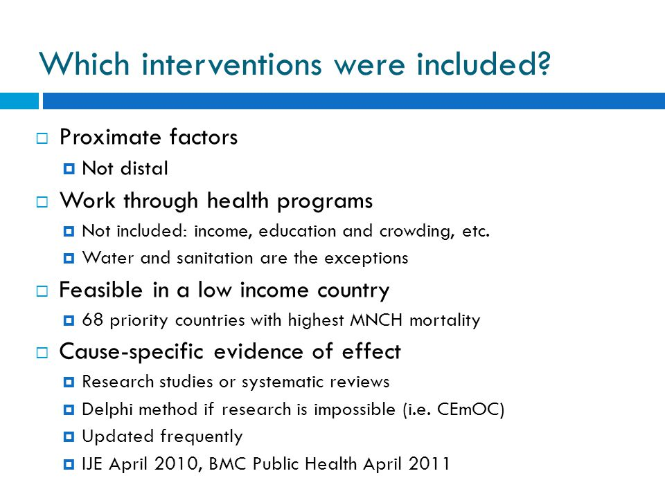 Which interventions were included.