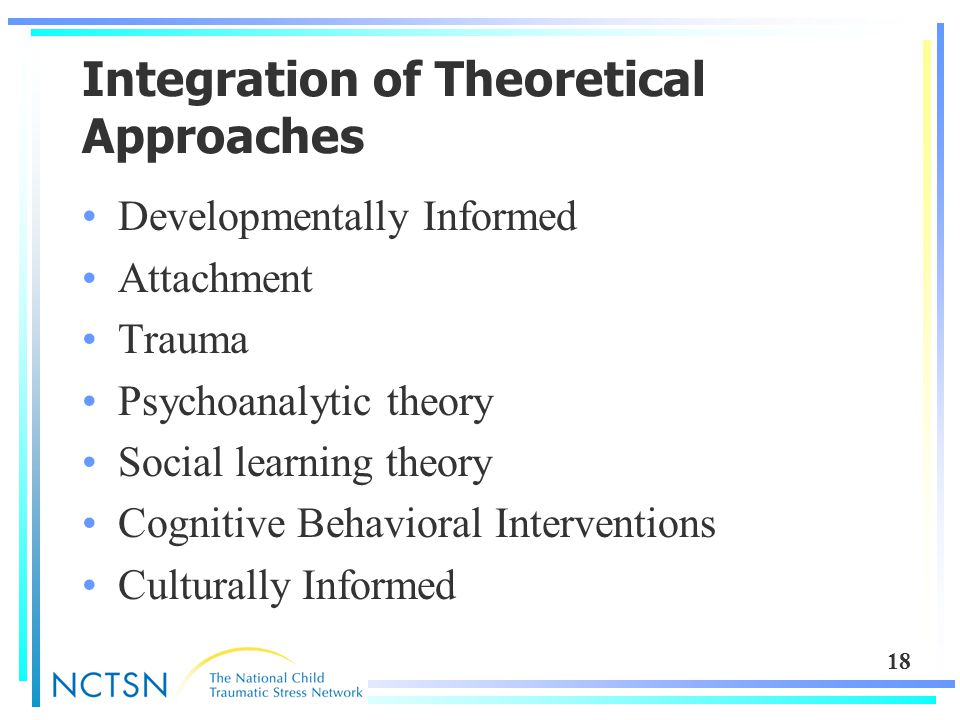18 Integration of Theoretical Approaches Developmentally Informed Attachment Trauma Psychoanalytic theory Social learning theory Cognitive Behavioral Interventions Culturally Informed