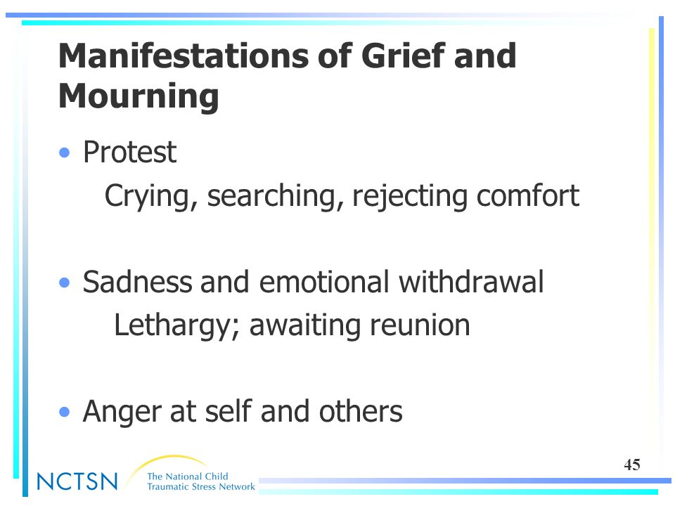 45 Manifestations of Grief and Mourning Protest Crying, searching, rejecting comfort Sadness and emotional withdrawal Lethargy; awaiting reunion Anger at self and others