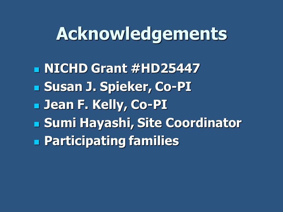 Acknowledgements NICHD Grant #HD25447 NICHD Grant #HD25447 Susan J.
