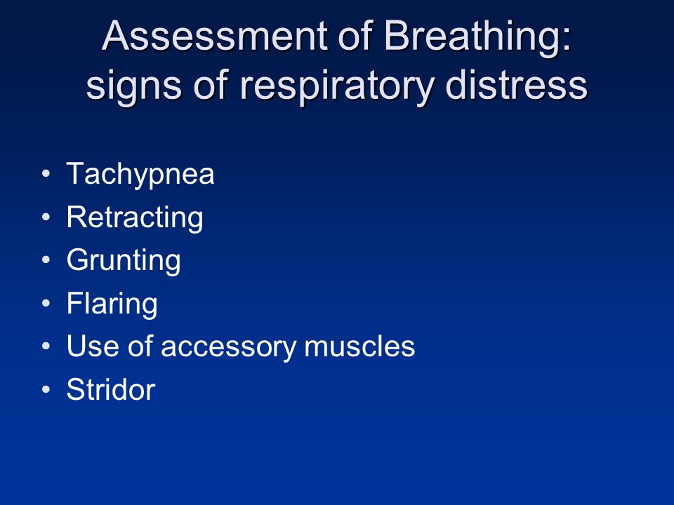 Assessment of Breathing: signs of respiratory distress Tachypnea Retracting Grunting Flaring Use of accessory muscles Stridor