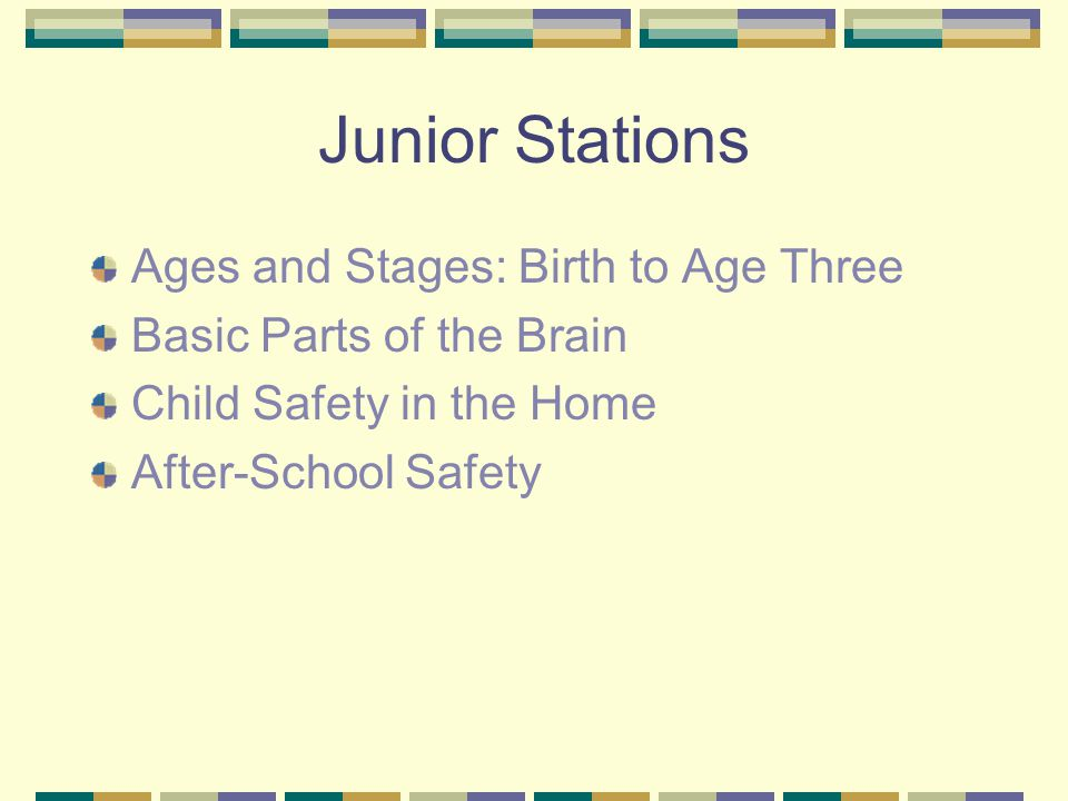 Junior Stations Ages and Stages: Birth to Age Three Basic Parts of the Brain Child Safety in the Home After-School Safety