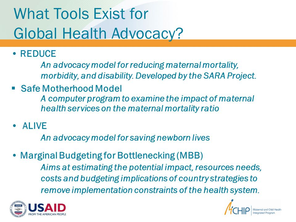 What Tools Exist for Global Health Advocacy.