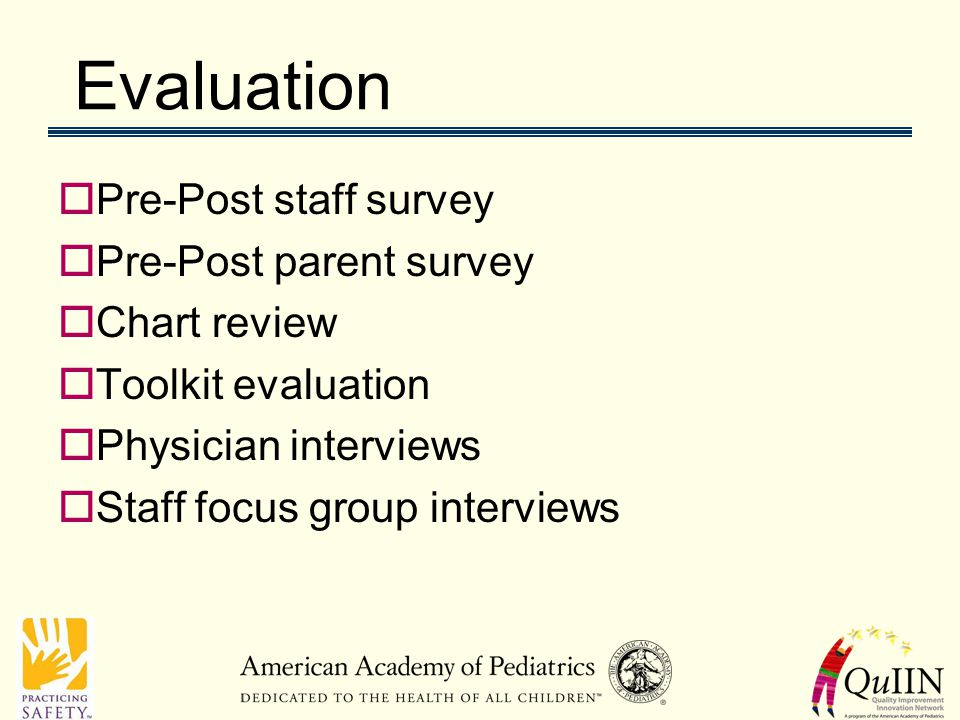 Evaluation  Pre-Post staff survey  Pre-Post parent survey  Chart review  Toolkit evaluation  Physician interviews  Staff focus group interviews