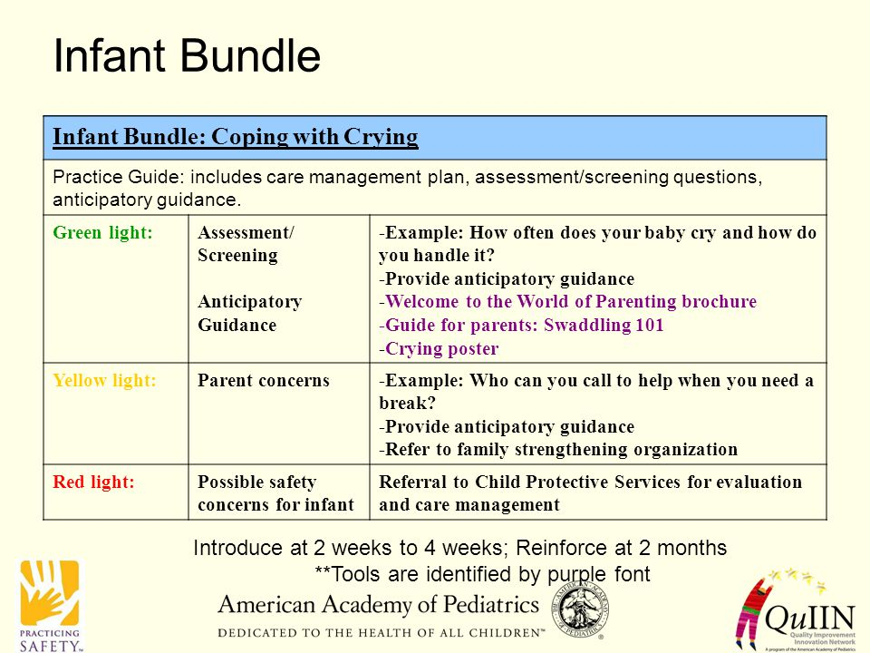 Infant Bundle Infant Bundle: Coping with Crying Practice Guide: includes care management plan, assessment/screening questions, anticipatory guidance.