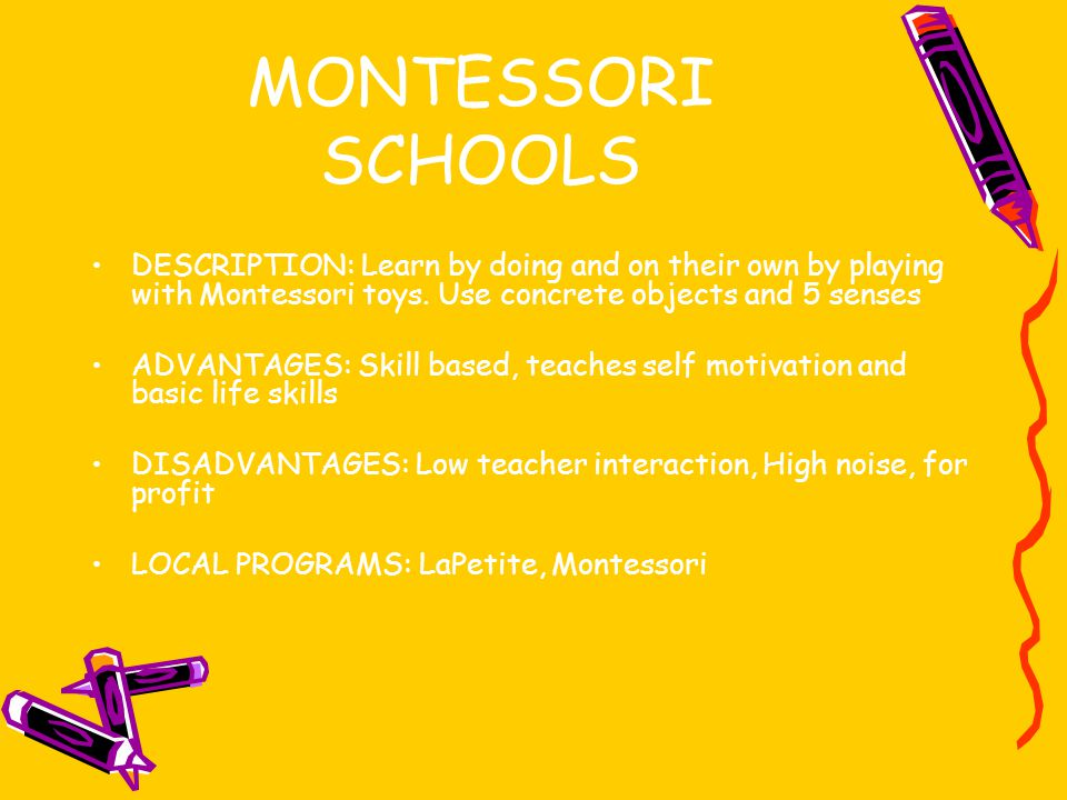 MONTESSORI SCHOOLS DESCRIPTION: Learn by doing and on their own by playing with Montessori toys.